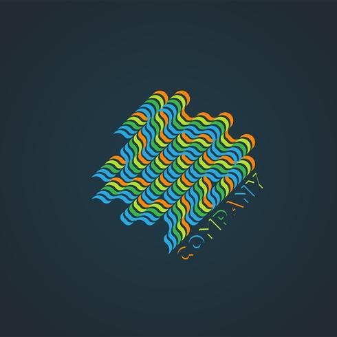 """Illustrazione """"di connessione"""" semplice variopinta sul blu, vettore"""