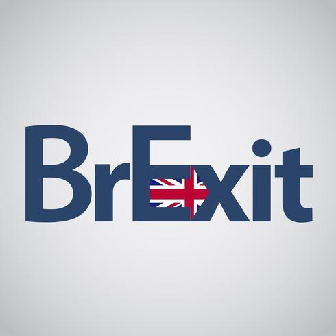 Testo di Brexit con la bandiera BRITANNICA e una freccia, vettore