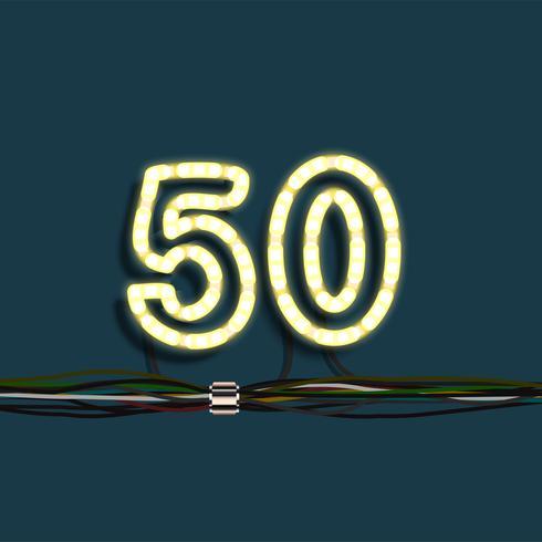 Numero di ghirlanda al neon, vettoriale