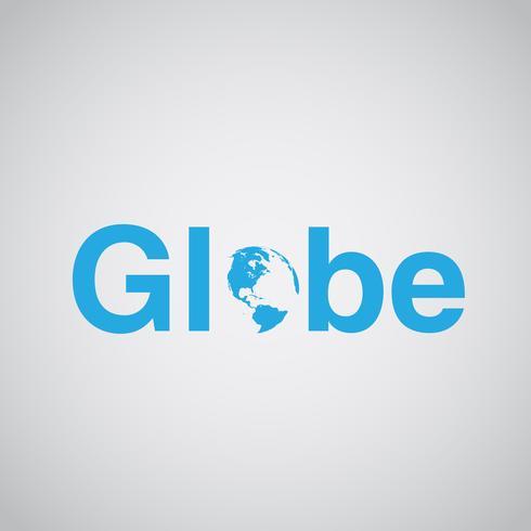 Il testo 'Globe' include la terra, illustrazione vettoriale
