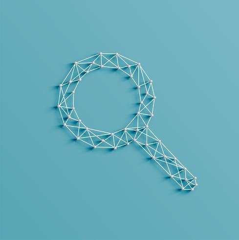 Illustrazione realistica di un'icona di ricerca fatta da perni e stringhe, vettore