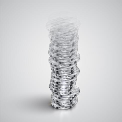 La torre realistica della moneta si attenua, illustrazione di vettore