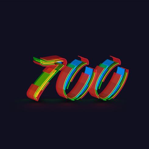Carattere variopinto 3D da un fontset, vettore