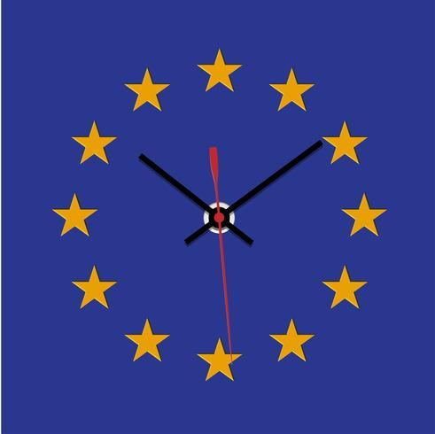 Orologio Brexit, stella missong della bandiera dell'Unione europea, vettore