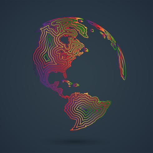 Mappa colorata del mondo, illustrazione vettoriale