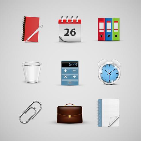 Icone realistiche dell'ufficio, per il web, vettore
