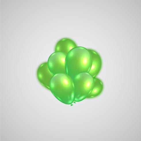 Palloncini realistici verdi, vettore