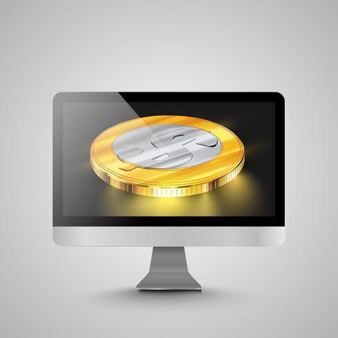 Computer realistico con monete denaro, illustrazione vettoriale