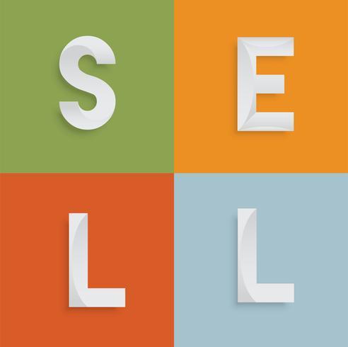 'VENDERE' parola di quattro lettere per siti Web, illustrazione, vettore