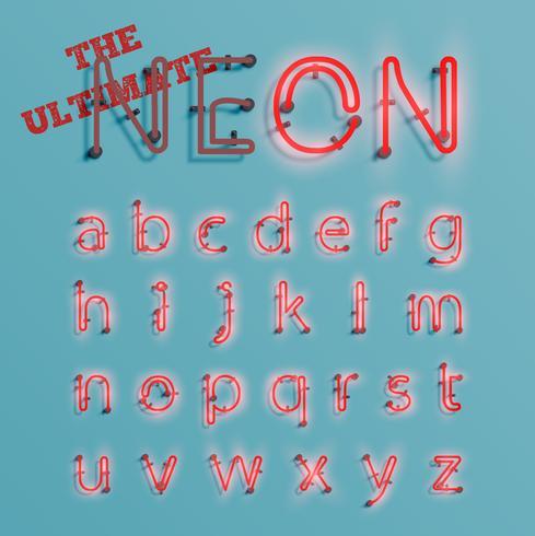 Il carattere realistico del neon rosso ha composto, vector