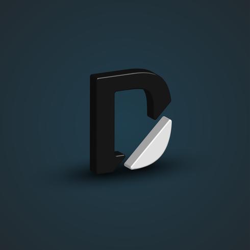 Carattere in bianco e nero 3D da un set di caratteri, illustrazione vettoriale