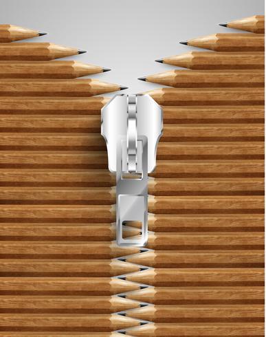 Illustrazione delle matite zippate creative, vettore