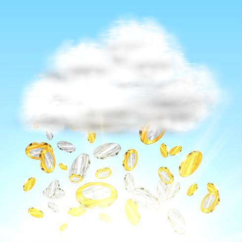 Pioggia dei soldi, illustrazione vettoriale