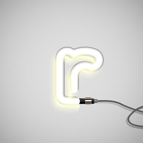 Carattere al neon realistico, vettore