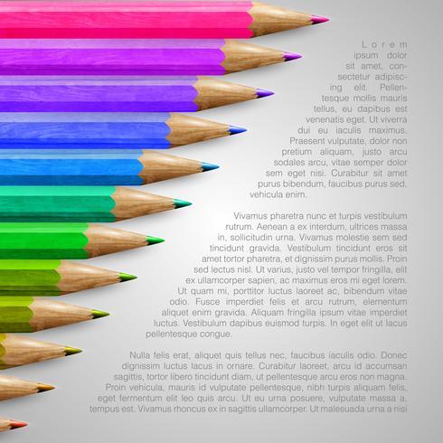 Modello con matite realistiche, illustrazione vettoriale