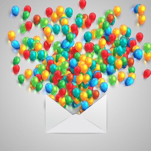Una busta con palloncini colorati, vettoriale