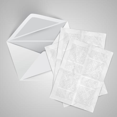 Busta realistica con documenti, illustrazione vettoriale