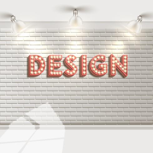 Muro di mattoni bianchi con riflettori, vettoriale