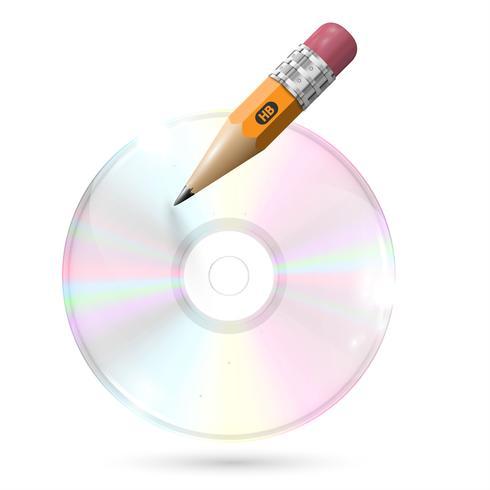 CD / DVD con la matita su sfondo bianco, illustrazione vettoriale
