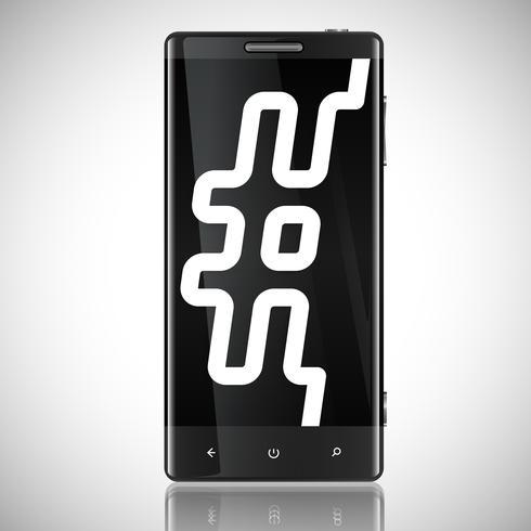Telefono schermato nero con un hashtag vettore