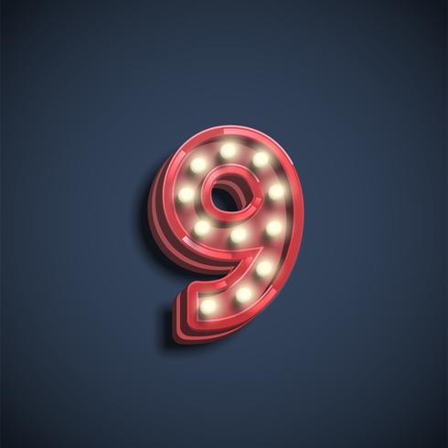 Carattere di numero realistico con lampade, illustrazione vettoriale