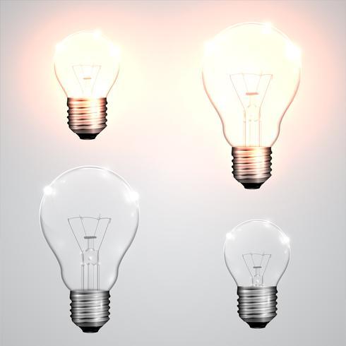 Quattro tipi di lampadina, vettoriale
