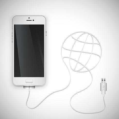 Smartphone realistico con cavo, illustrazione vettoriale