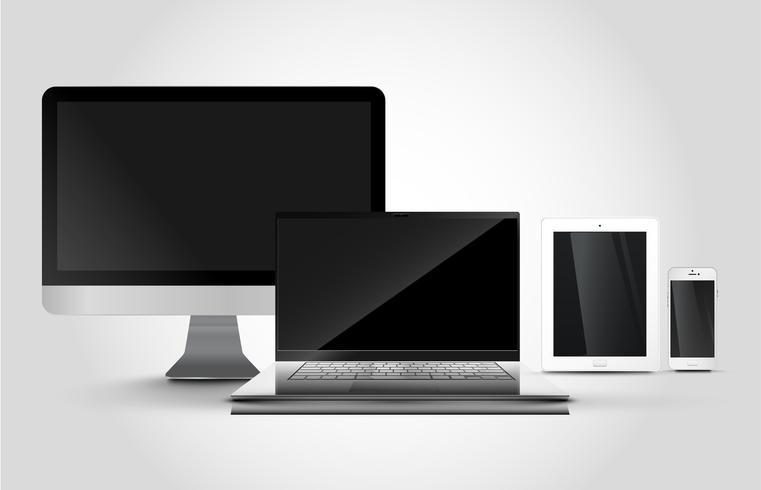 Smartphone realistico, tablet, notebook, pc, illustrazione vettoriale