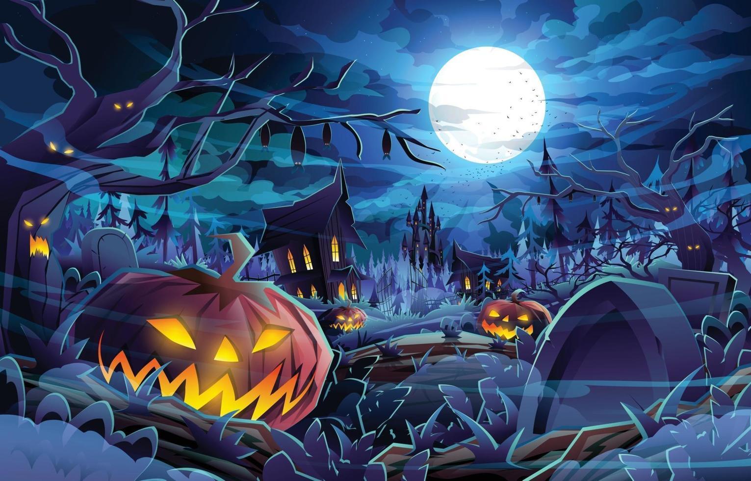 concetto di sfondo del paesaggio di notte oscura di halloween vettore