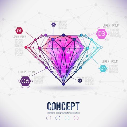 Composti di forma astratta della composizione e sfaccettature del diamante, vettore