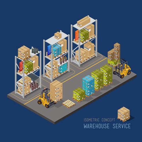 Capannone industriale con scaffali e camion, servizio cargo. vettore