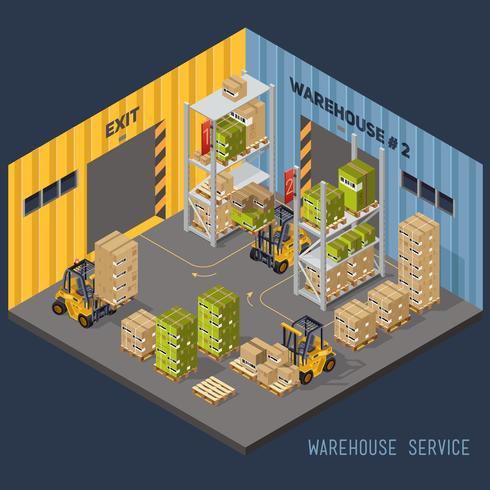 Scaffalatura e carico e magazzino del magazzino. vettore