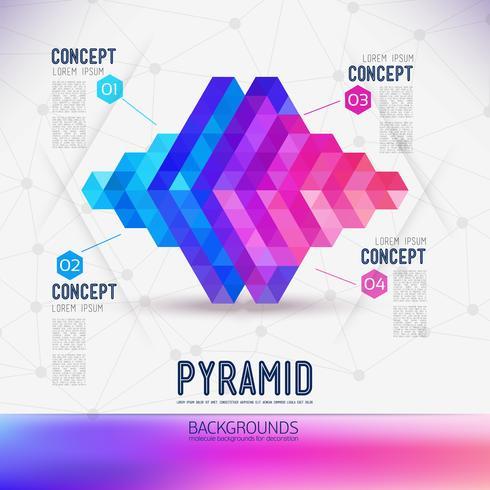 Piramide geometrica astratta del concetto, la portata delle molecole. vettore
