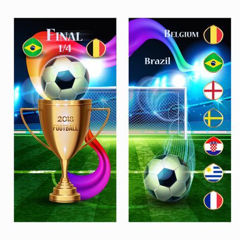 Banner Pallone da calcio con coppa d'oro e bandiera dei paesi vettore