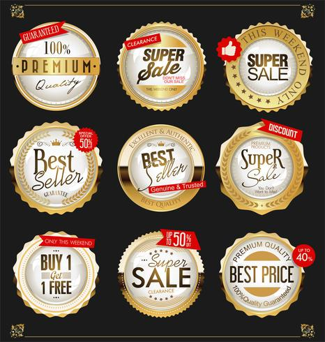 Collezione vintage distintivi ed etichette d'oro vettore