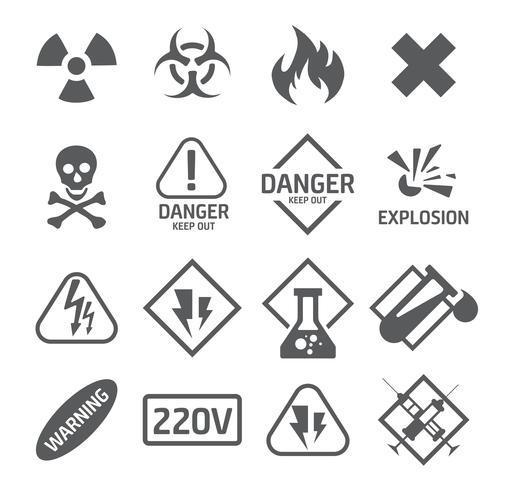 Set di icone di pericolo vettore
