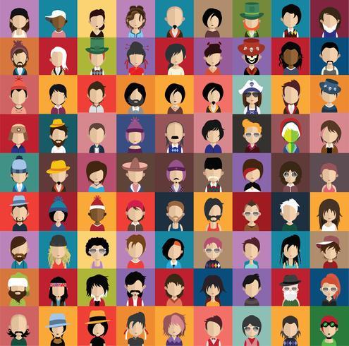 Set di icone di persone con facce vettore