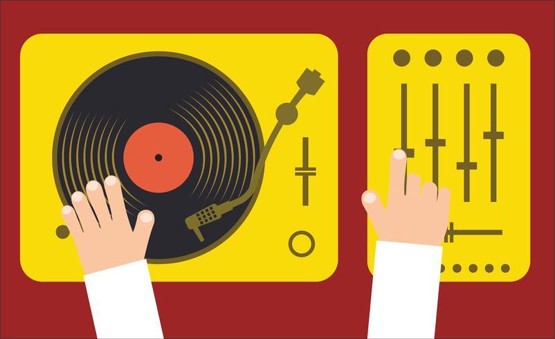 La piattaforma girevole ed il miscelatore con il DJ tracciano l'illustrazione piana di vettore di concetto di musica moderna