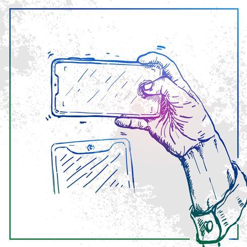 Illustrazione della mano che tiene un telefono e prendere selfie vettore