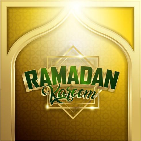 Gold Ramadan Kareem Background 1440 Hijr con Ramadan Kareem 3d Lettering Text vettore