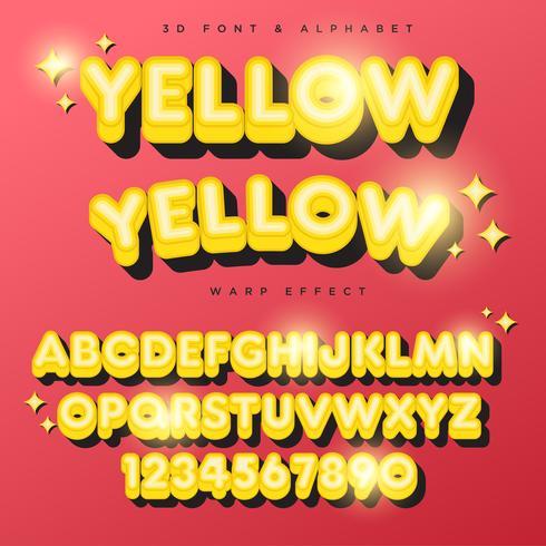 Testo, carattere & alfabeto di iscrizione stilizzata gialla 3D vettore