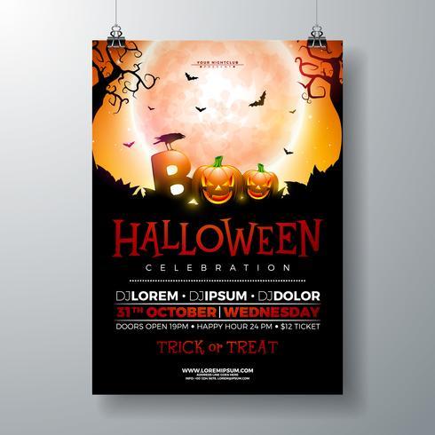 Boo, illustrazione di volantino di Halloween Party vettore
