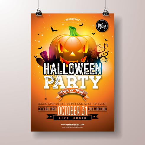 Illustrazione di volantino di Halloween Party vettore