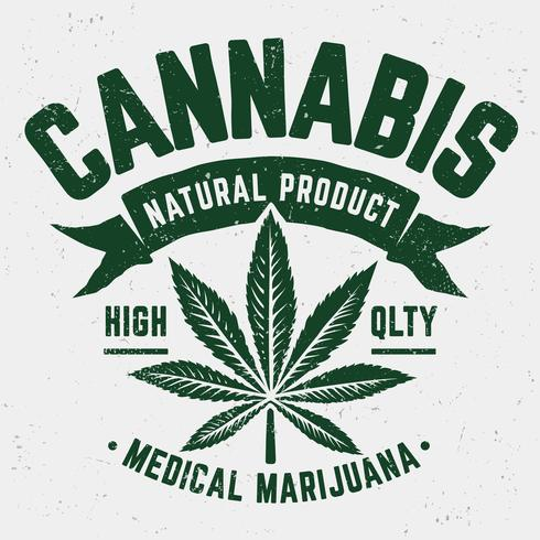Emblema del grunge di cannabis vettore