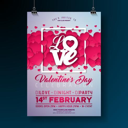 Progettazione Flyer festa di San Valentino vettore