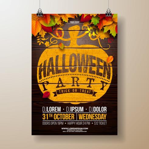 Illustrazione dell'aletta di filatoio del partito di Halloween con le foglie di autunno vettore