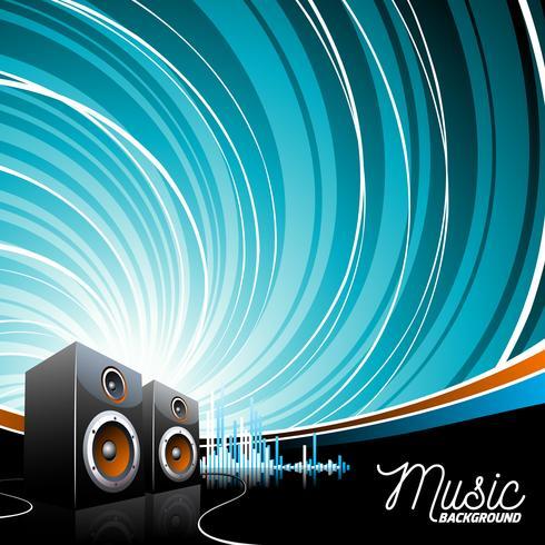 Illustrazione di musica vettoriale con altoparlanti
