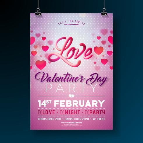 Disegno vettoriale Flyer festa di San Valentino