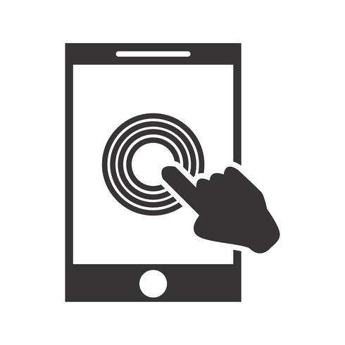 Icona del glifo con touch screen nero vettore