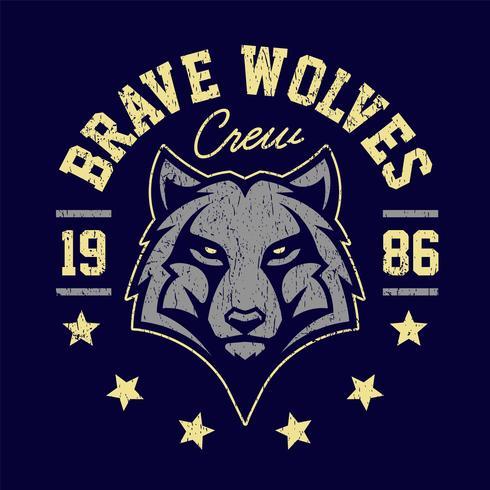 disegno dell'emblema del grunge della mascotte del lupo vettore